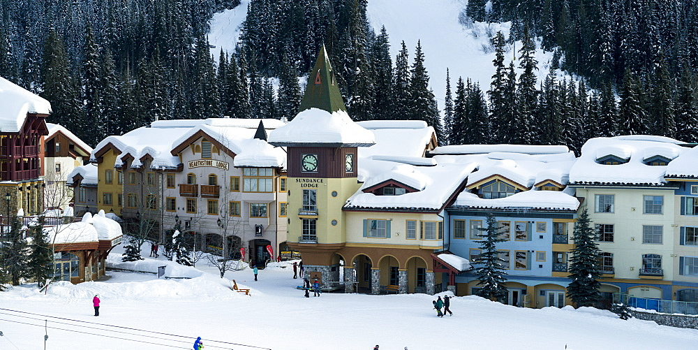 Colourful buildings at the Sun Peaks ski resort, Kamloops, British Columbia, Canada