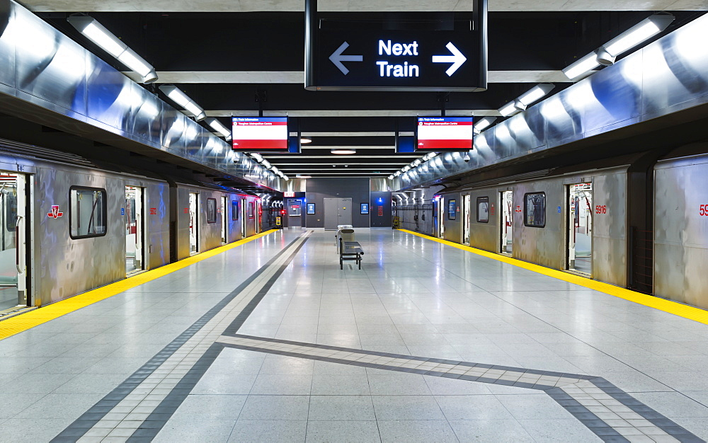 Interior trains at the Vaughan Metropolitan Centre subway station on the Yonge-University line, Toronto, Ontario, Canada
