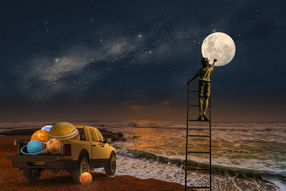 Composite image of a boy standing on a ladder touching the moon with a pickup truck full of planets at the edge of the ocean - 1116-42095