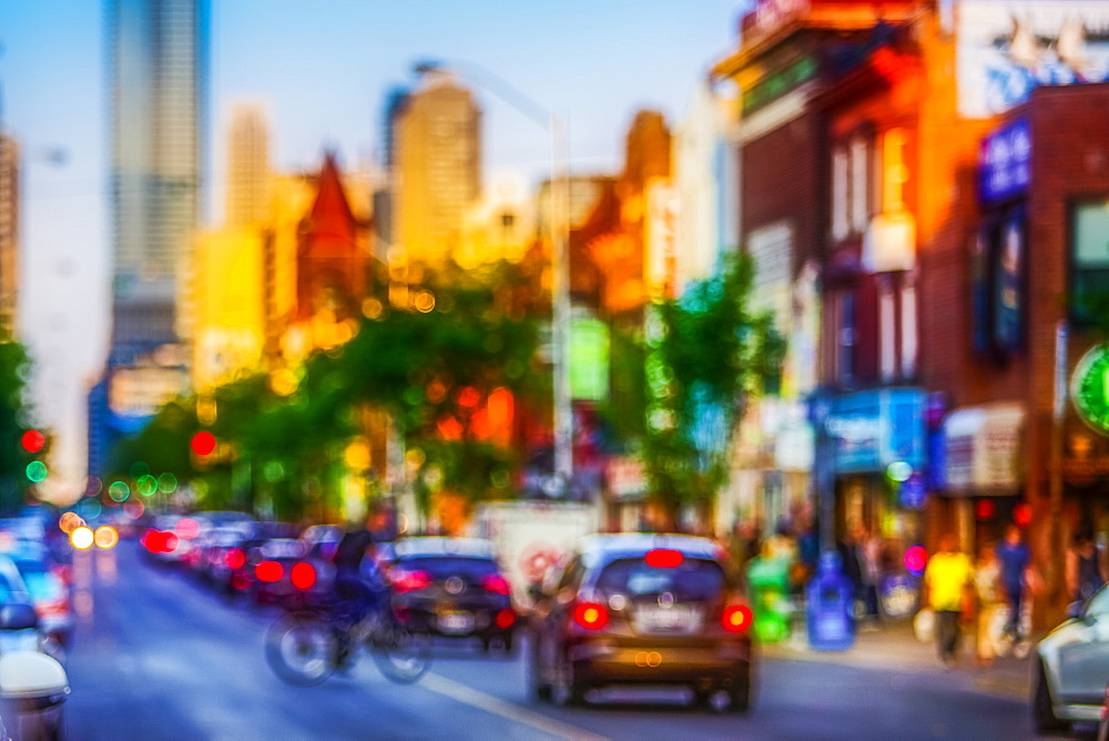 Blurred scene of Bloor Street in Toronto, Toronto, Ontario, Canada