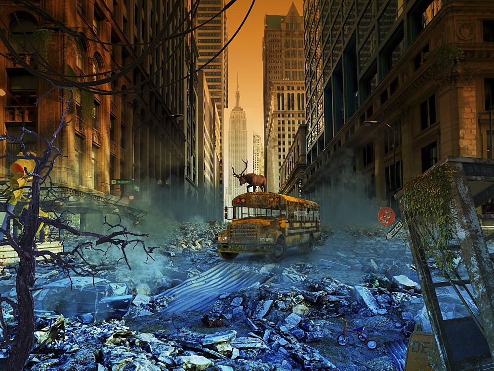 Abandoned school bus in an apocalyptic New York City, composite image - 1116-42100