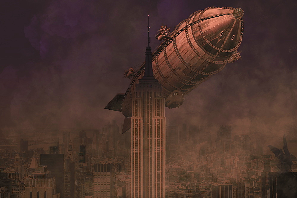 A rigid airship flies by the Empire State Building, ready to collide, composite image - 1116-42103