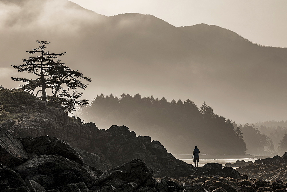A male camper enjoys the sunrise over Nootka Island at low tide in Nuchatlitz Provincial Park, British Columbia, Canada