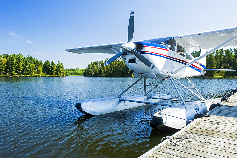 Float plane dock, Lake of the Woods near Nestor Falls, Northwestern Ontario, Ontario, Canada