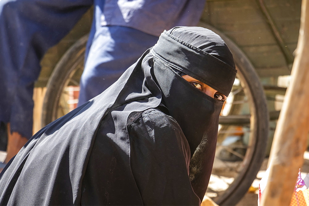 Eritrean woman in a Niqab at the open air market, Keren, Anseba Region, Eritrea