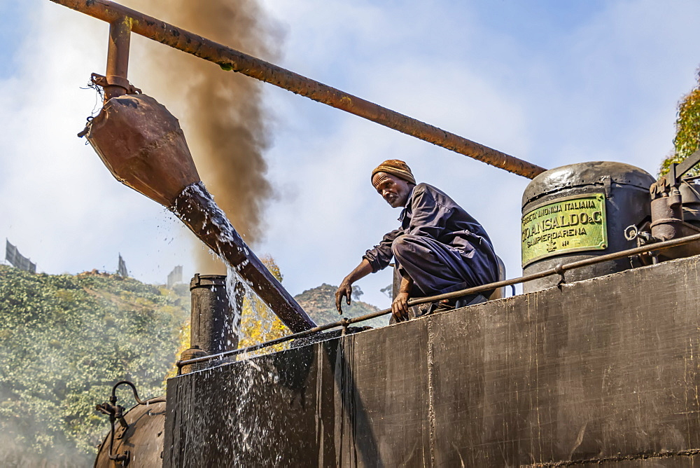 Engineer adding water to the Ansaldo 442 steam locomotive built in 1938, used for transporting cargo from the port city of Massawa to the capital Asmara, Arbaroba, Central Province, Eritrea