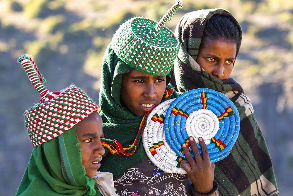 Ethiopian women selling placemats, Simien National Park, Amhara Region, Ethiopia