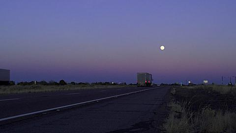 On the Freeway with Full Moon