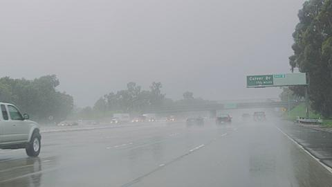 Heavy Downpour on the 405 Freeway Southern California