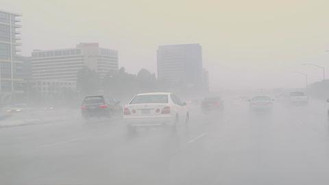 Heavy Downpoor on the 405 Freeway, Southern California, United States of America