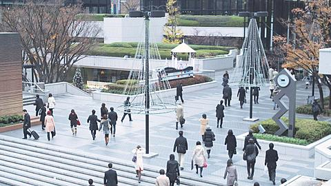People going to work early morning in Shinjuku