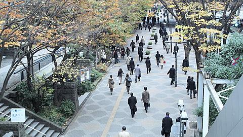 People going to work early morning in Shinjuku, Tokyo, Japan