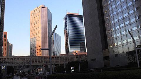 The Shinjuku City Hall in the last Sunlight, Tokyo, Japan