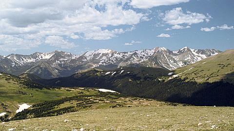 On Top of the Rocky Mountain National Park Mountain Range at 14000 feet (Time Lapse), Colorado, United States of America