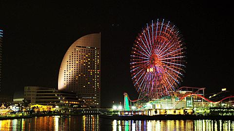 The Cosmo World Ferries Wheel and the Intercontinental Hotel early evening
