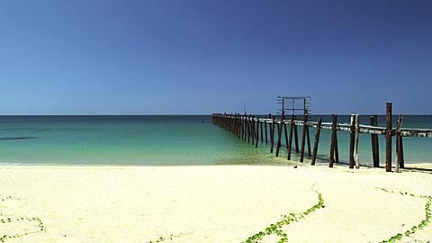 Deserted Jetty on Beach in Phang Nga, Phuket, Thailand