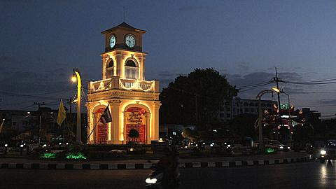 The Surin Circle in Phuket Town early evening, Phuket, Thailand