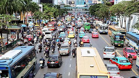 Early Afternoon traffic on Rachadamri Street, Bangkok, Thailand - 1117-1983