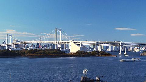 Rainbow Bridge and Tokyo Bay, Tokyo, Japan