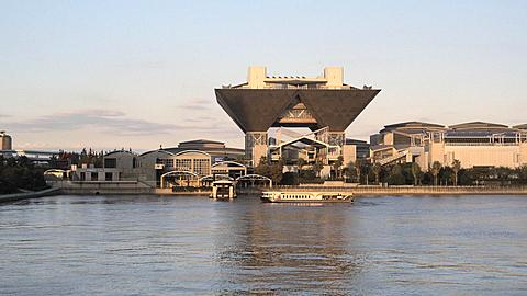 Big Sight Exhibition Center with Sightseeing Boats, Tokyo, Japan