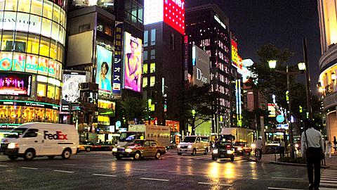 Lit Buildings at Ginza at Night with Ginza Line Subway Entrance