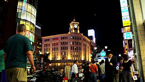 Lit Buildings at Ginza at Night with Waco Department Store, Tokyo, Japan