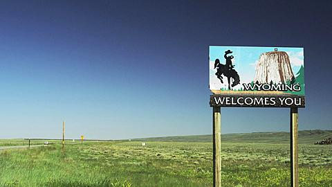 Wyoming State Border Sign on Highway 25, Wyoming, United States of America