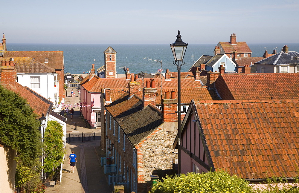 View over rooftops to the North Sea, Aldeburgh, Suffolk, England, United Kingdom, Europe - 1121-13