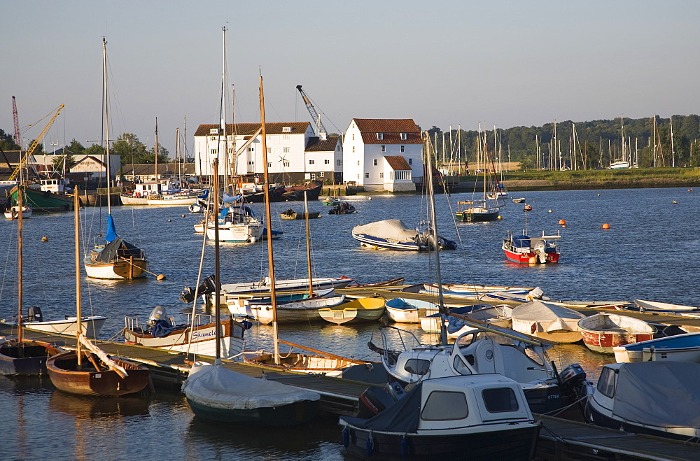 Tide mill and boat moorings on the River Deben, Woodbridge, Suffolk, England, United Kingdom, Europe - 1121-27