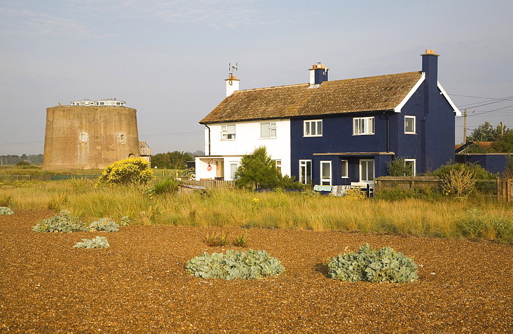 The hamlet of Shingle Street, Hollesley Bay at the end of Orford Ness shingle spit, Suffolk, England, United Kingdom, Europe - 1121-33