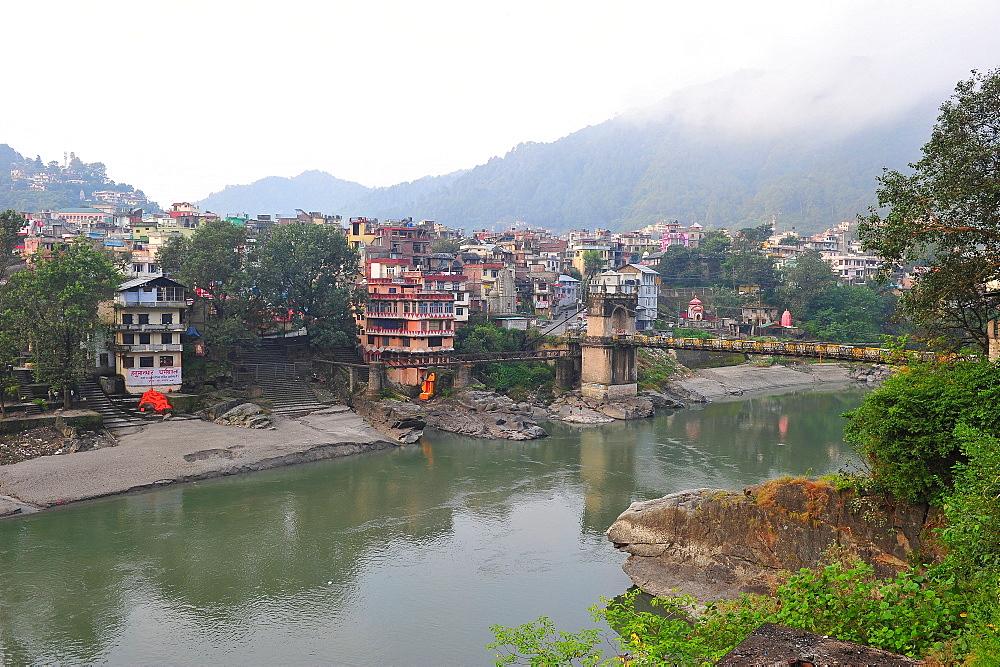 Mandi town across Beas River, Himachal Pradesh, India, Asia - 1125-157