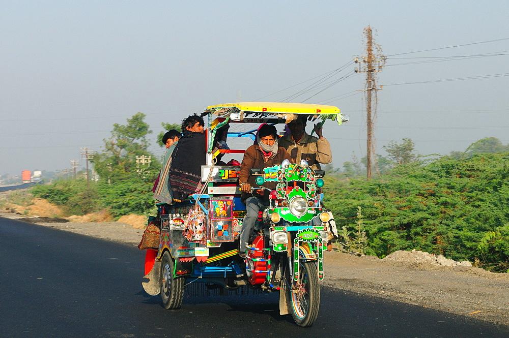 Road transportation in rural India, Gujarat, India, Asia