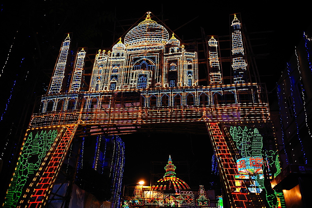 Lighting arrangements depicting the Taj Mahal, Kolkata, West Bengal, India, Asia