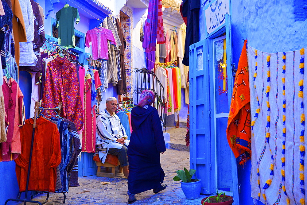 Souvenir shop with blue washed walls, Chefchaouen, Morocco, North Africa, Africa