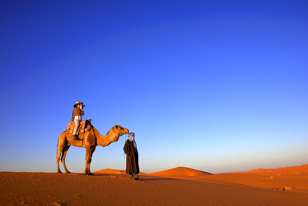 Tourist on camel taking photograph, with Berber man, Morocco, North Africa, Africa