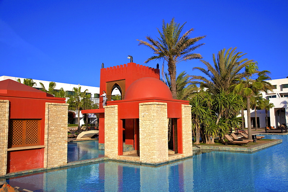 Swimming pool at hotel, Agadir, Morocco, North Africa, Africa