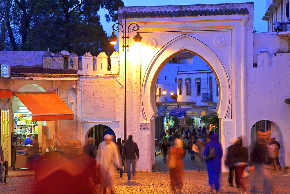 Bab El Fahs at dusk, Grand Socco, Tangier, Morocco, North Africa, Africa