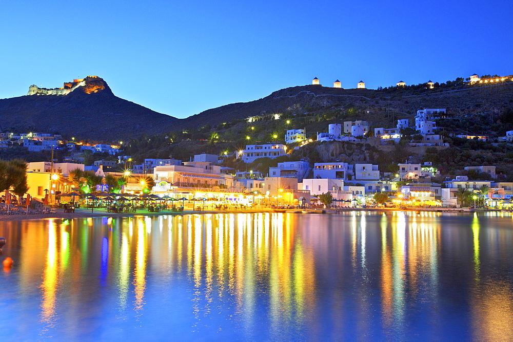 Panteli at night, Leros, Dodecanese, Greek Islands, Greece, Europe - 1126-1362