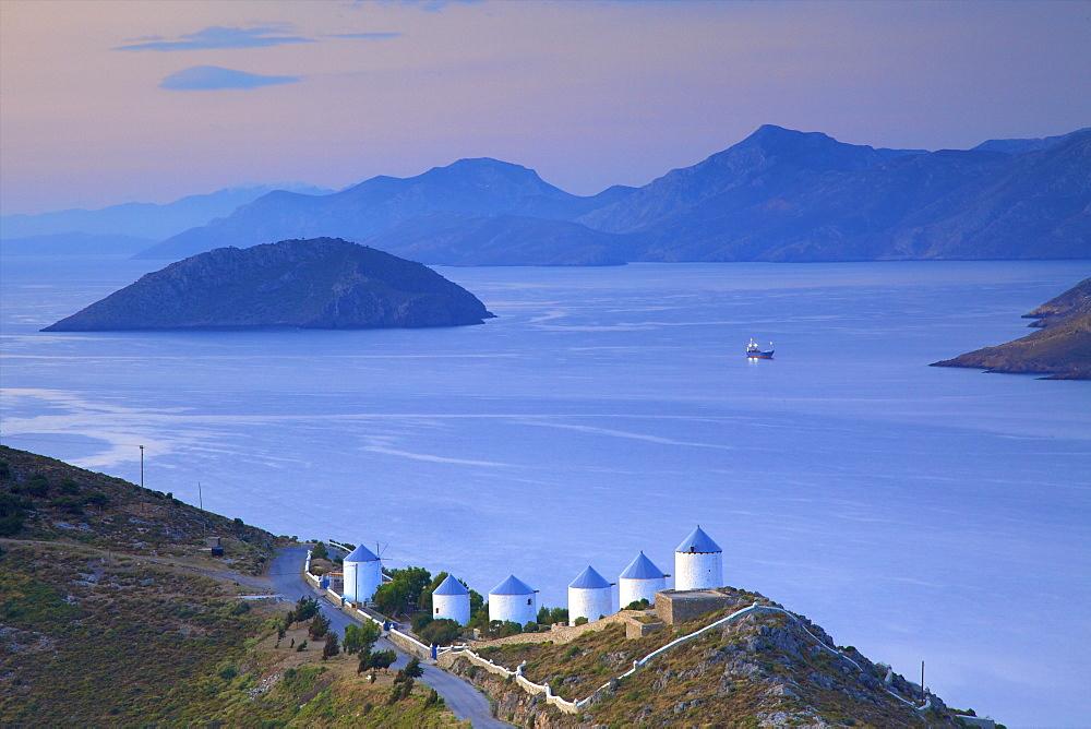Windmills, Leros, Dodecanese, Greek Islands, Greece, Europe