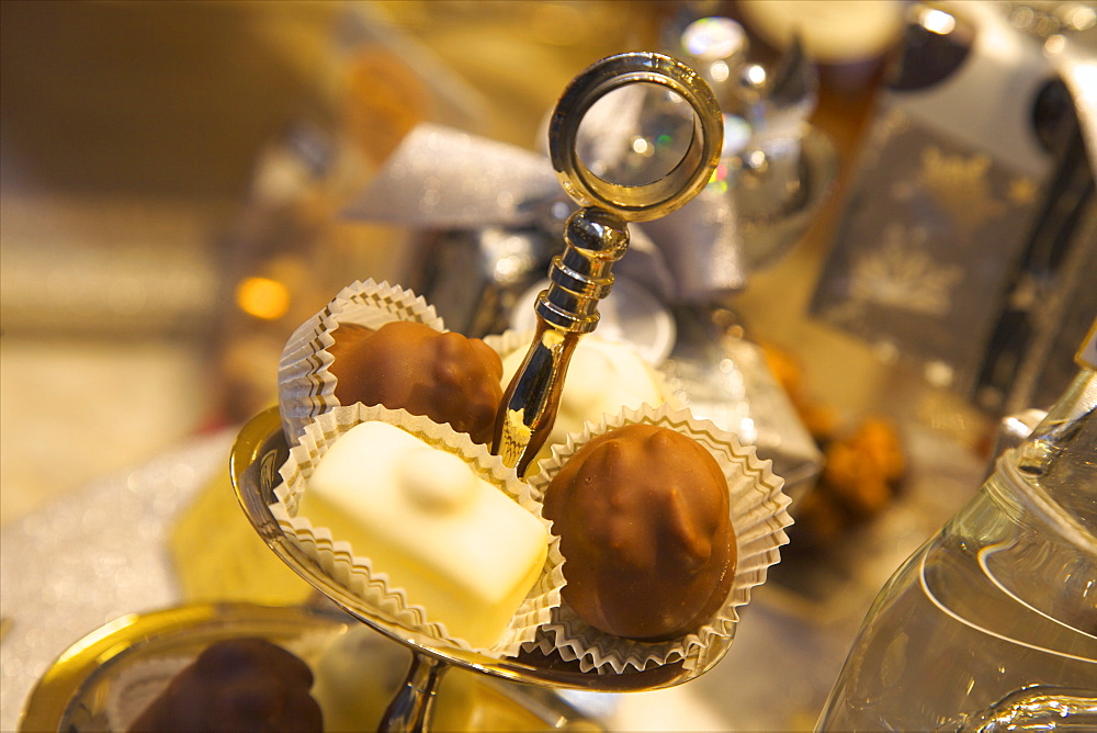 Chocolate truffles in a sweet shop, Brussels, Belgium, Europe