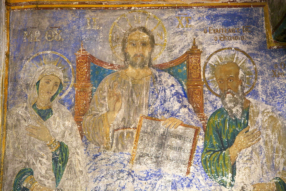 Frescoes in the Monastery of St. John at Chora, UNESCO World Heritage Site, Patmos, Dodecanese, Greek Islands, Greece, Europe