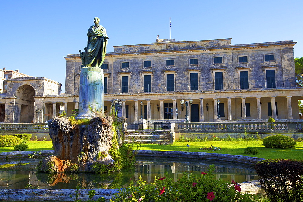 Statue of Frederick Adam in front of the Palace of St. Michael and St. George, Corfu Old Town, Corfu, The Ionian Islands, Greek Islands, Greece, Europe