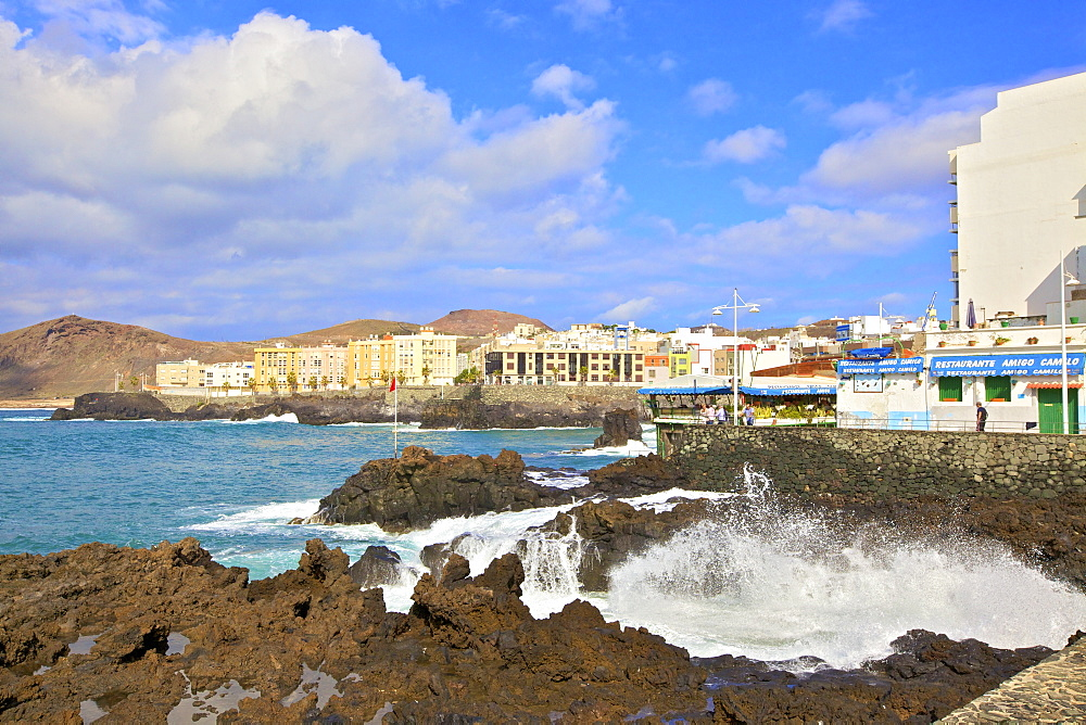Playa de las Canteras Beach, Santa Catalina District, Las Palmas de Gran Canaria, Gran Canaria, Canary Islands, Spain, Atlantic Ocean, Europe