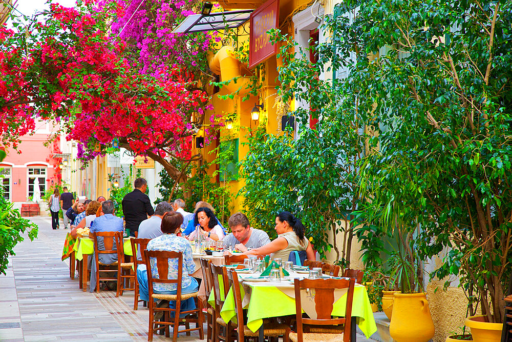 Restaurant in the Old Town of Nafplio, Argolis, The Peloponnese, Greece, Southern Europe