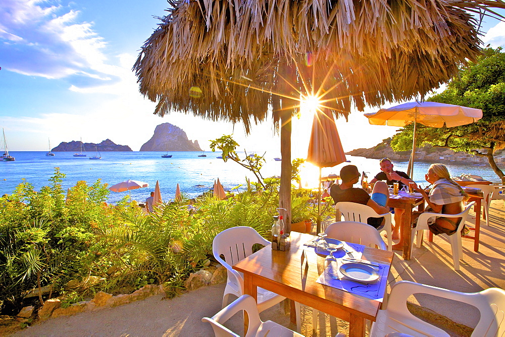 Restaurant at Cala d'Hort with The Island of Es Vedra in the background, Ibiza, Balearic Islands, Spain, Mediterranean, Europe - 1126-1745
