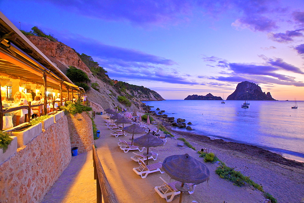 Restaurant at Cala d'Hort with The Island of Es Vedra in the Background, Ibiza, Balearic Islands, Spain - 1126-1746