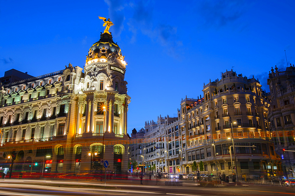 Metropolis Building at Dusk, Madrid, Spain, South West Europe