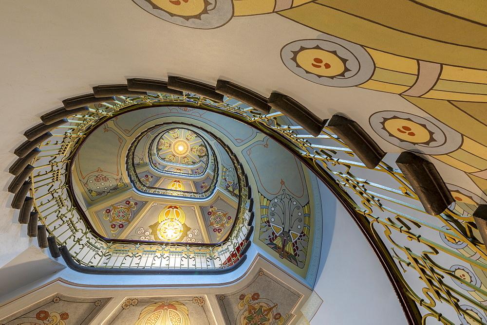Art Nouveau Spiral Staircase, Riga, Latvia, Europe