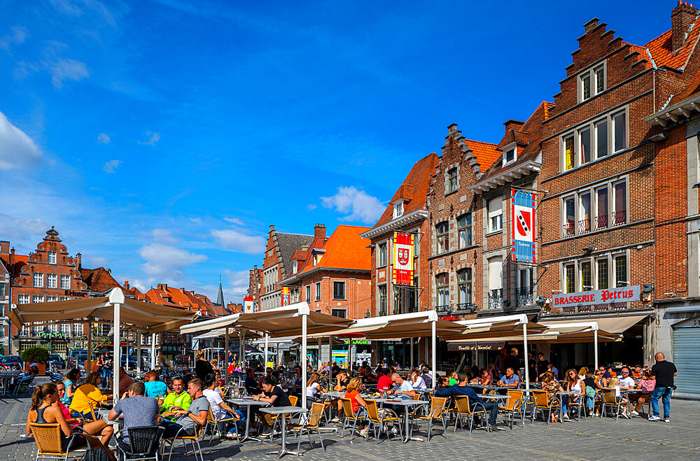 Restaurants in The Grand Place, Tournai, Belgium