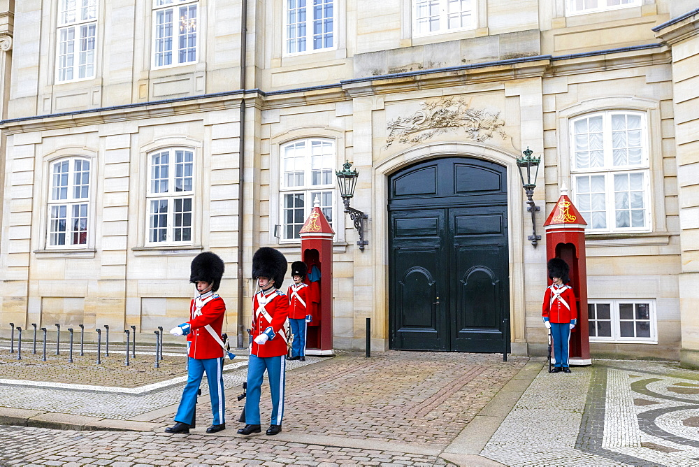 Changing of the Guard, Amalienborg Palace, Copenhagen, Denmark, Scandinavia, Europe